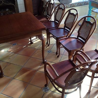 c1950 Jarvi dining set 6 Bentwood & Cane Chairs Ext Table Carver Chesterfield