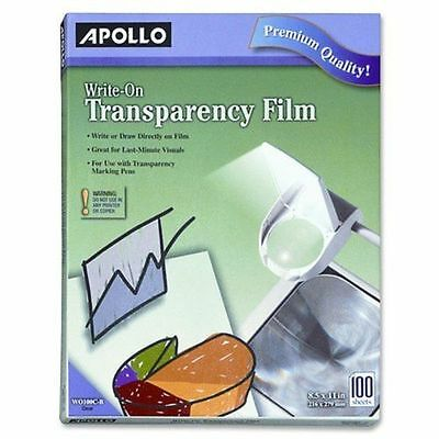 Apollo Write-On Transparency Film, 8.5 x 11 Inches, Clear, 100 Sheets per Box (V