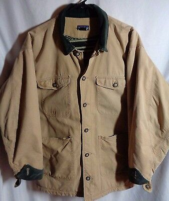 patagonia chore jacket mens medium beige vintage made in usa  fleece lined