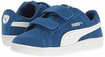 PUMA Kids Smash Fun SD V Infant Toddler Hook and Loop Blue Running Shoes New