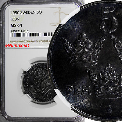 Sweden Gustaf V Iron 1950 5 Ore NGC MS64 LAST DATE FOR TYPE GEM BU COIN  KM# 812