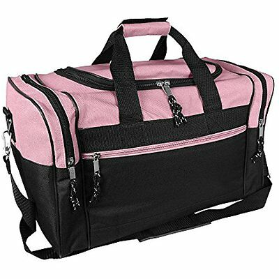 """17"""" Womens Duffle Bag In Pink And Black"""