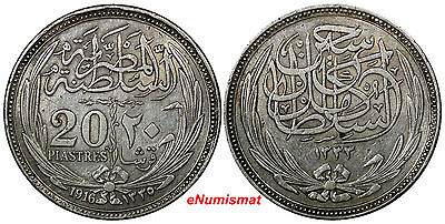 Egypt British Occupation Hussein Kamil  AH1335/1916 20 Piastres XF KM#321(10148)