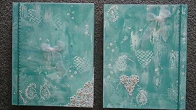 AQUA BLING 1 AND 2 ORIGINAL PAINTINGS BY LEONIE SINCLAIR 28 x 35cm. New. VIC.