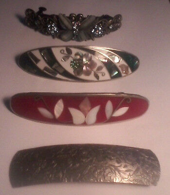 Lot of 4 Vintage Hair Barrettes 2 Mother of Pearl Sterling Mexico Butterfly