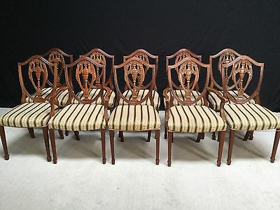 Set 10 Beautiful Prince Of Wales Style Mahogany Chairs Pro French Polished.