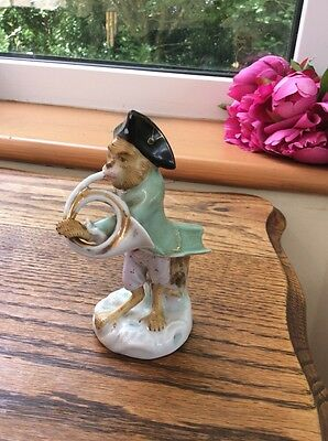 "Antique Scheibe Alsbach Dresden Monkey Band ""The French Horn Player"" Vgc"