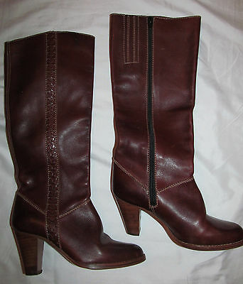 5cd149d5a9 vintage 70 s IMPERIAL knee high heel chestnut brown leather zip boots BRAZIL  5.5