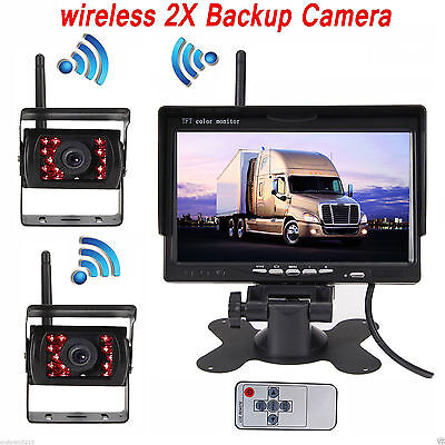 """7"""" Monitor+2 X Wireless Rear View Backup Camera Night Vision For RV Truck Bus"""