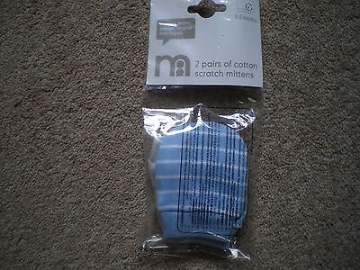 Mothercare  2 Pairs Of Scratch Mittens  New   Blue