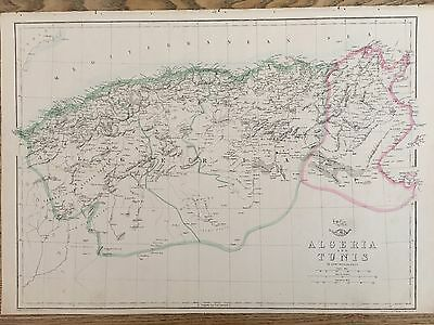 1863 Algeria & Tunisia Map By Weekly Dispatch Hand Coloured