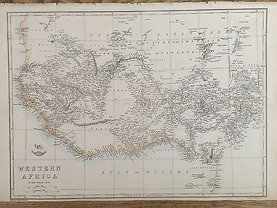 1863 West Africa Map By Weekly Dispatch Hand Coloured