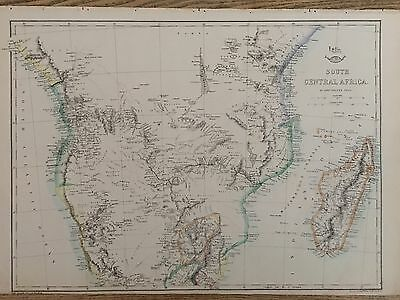 1863 South Central Africa Map By Weekly Dispatch Hand Coloured