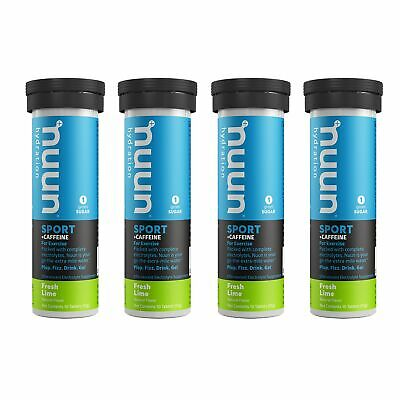 Nuun Sport + Caffeine: Fresh Lime Electrolyte Drink Tablets (4 Tubes of 10 Tabs)