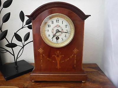 RARE Antique French 8 day inlaid Mahogany Mantel Clock flowered dial + key