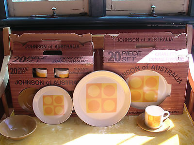 "Johnson Of Australia Two Ultra Rare 90% Unused Boxed Sets Of ""sahara"" Dinnerware"
