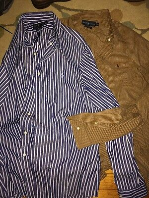 Mens Ralph Lauren Lot Of 2 Dress Shirts Button Down Xl Ls Blake & Custom Fit
