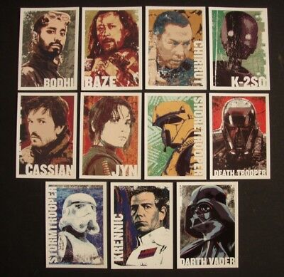 2016 Topps Star Wars Rogue One Series 1 Complete 11 Character Icon Set