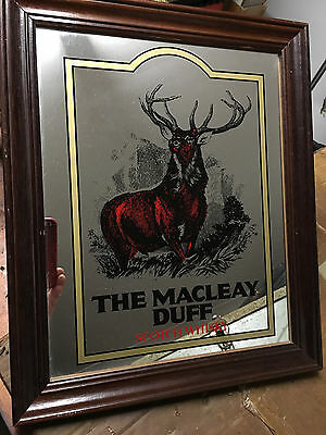 Vintage THE MACLEAY DUFF Scotch Whiskey Bar Mirror