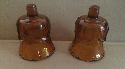 2 HOME INTERIORS VOTIVE CANDLE HOLDER Pair SCONCE CUPS Vintage TULIP AMBER  GLASS