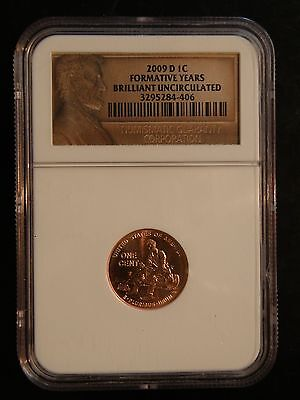 """2009 """"d"""" Lincoln Cent  """"formative Years """"  Ngc"""