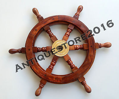 Nautical Vintage Boat Ship Wheel Wooden Steering Collectible Antique Home Decor