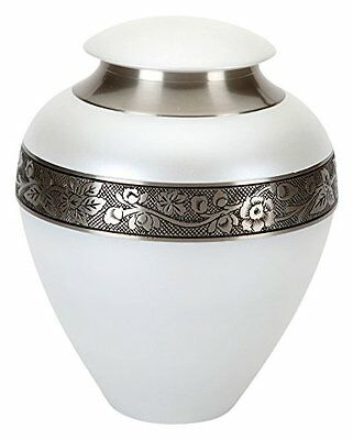 "Urns UK, Urna funeraria in ottone ""Swindon, bianco, 25,4 cm (P5N)"