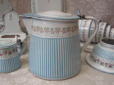 Antique FRENCH Enamelware Lidded PITCHER BB 17651 ROSE GARLAND CANDY STRIPES