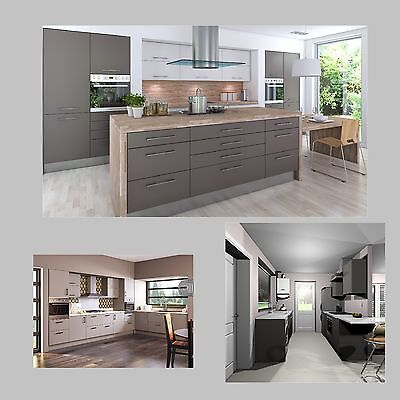 Kitchen:Grey Designer Kitchen Complete Fitted Units Cabinets & Doors Brand New