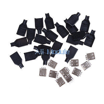 50PCS USB2.0 Type-A Plug 4-pin female Adapter Connector jack&Black Plastic Cover
