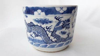 Rare 19Th C Antique Chinese Blue And White Porcelain Incensory Brush Pot Dragon