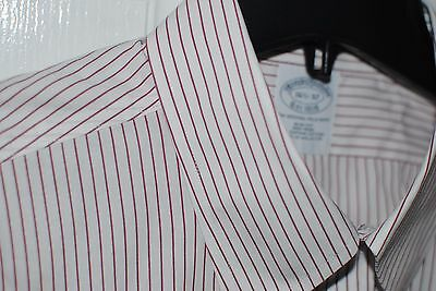 Brooks Brothers Slim Fit Dress Casual Shirt Non-Iron Men's 16 1/2  32 White Red