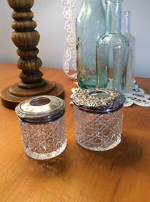 PRETTY Antique Solid Silver Cut Glass Pair Hair Tidy Dressing Table Pots Display