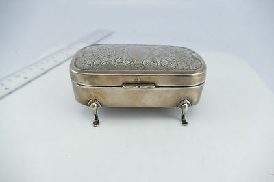 Great English Sterling Jewelry Ring Box   **Acid Etched Top** No Mono  .925