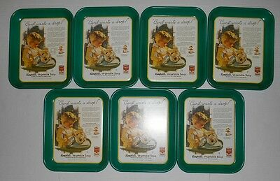 1993 Cambell's Vegetable Soup Can't Waste A Drop Metal Serving Trays Lot Of 7