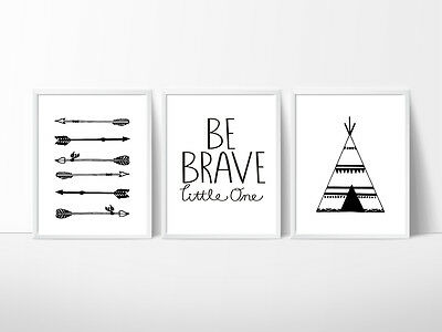 Tribal Nursery Print, Kids Wall Decor, Arrows, Teepee,  A4, A5 or A3 Size Prints