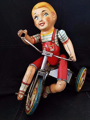 Antique Vintage Kiddy Cyclist Tin Lithograph Wind Up Toy Unique Art Mfg Co 1940s