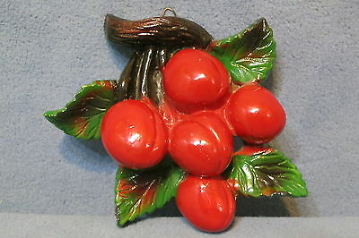 Vintage Chalkware Wall Decor - Red Cherries Green Leaves Brown Branch