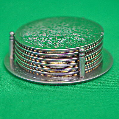 Vintage Metal And Cork Set Of 6 Coasters With Stand
