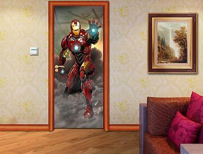 The Avengers Iron Man DOOR WRAP Decal Sticker Wall Mural Personalized NAME D63