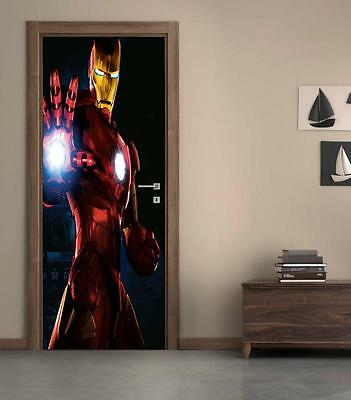 The Avengers Iron Man DOOR WRAP Decal Sticker Wall Mural Personalized NAME D62