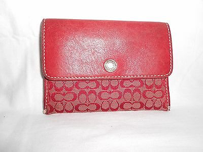 Women's Coach Red Leather Small Wallet