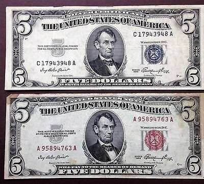Lot of 2 1953 $5 Five Dollar US Blue Seal Silver Certificate + Red Seal Note