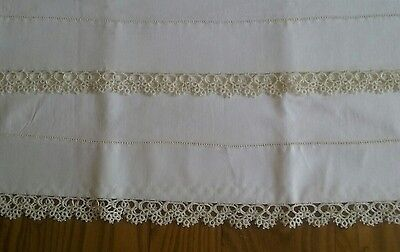 """Set Of Unused Vintage Ivory Cotton Pillowcases Tubing ~ 1"""" Hand Tatted Lace"""