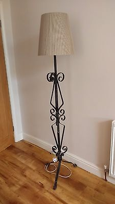 Wrought iron standard lamp art deco  vintage and rewired