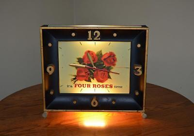 Vintage Large Four Roses Whiskey Lighted Advertising Mantel Clock Working