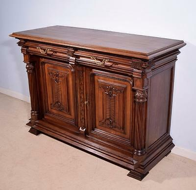 Antique French Gothic Revival Sideboard/Buffet in Solid Walnut Wood