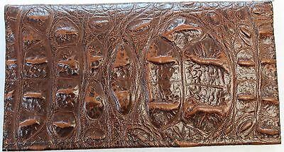 3D Russet Red Alligator Embossed Leather Check Book Cover Free Shipping