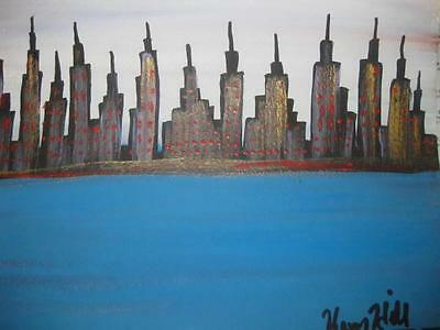 Henry Hill Goodfella's Original Painting  Nyc Skyline Blue Money Small 9 X 11