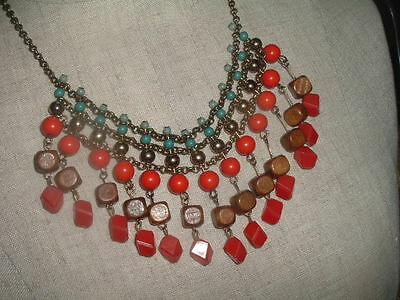 Vintage Egyptian Revival Bib Collar Necklace French Coral And Turquoise